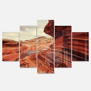 Designart 'Vermillion Cliffs At Dawn View' Oversized Landscape Glossy Metal Wall Art