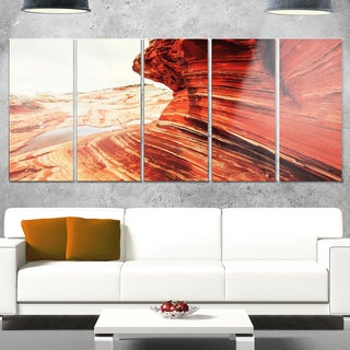 Designart 'Vermillion Cliffs Lake View' Oversized Landscape Glossy Metal Wall Art
