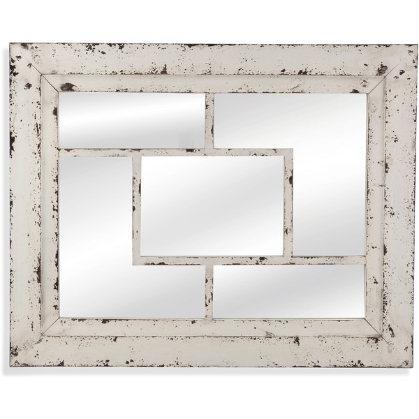 Shop Harper Distressed White Framed Wall Mirror Free