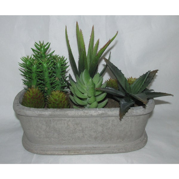 Shop Jeco Polyester And Resin 7 5 Inch Artifical Succulent Garden Free Shipping On Orders Over