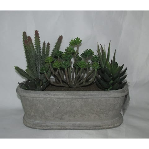 Jeco Polyester and Resin 7.5-inch Artifical Succulent Garden