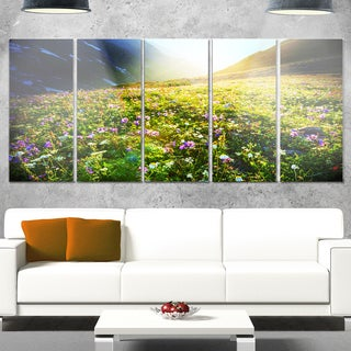 Designart 'Meadow with Colorful Flowers' Oversized Landscape Glossy Metal Wall Art