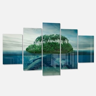 Designart 'Giant Turtle Carrying Island' Oversized Abstract Glossy Metal Wall Art