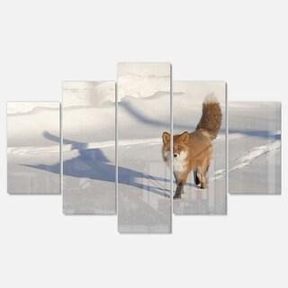 Designart 'Brown Winter Cat with Footprints' Oversized Animal Metal Wall Art