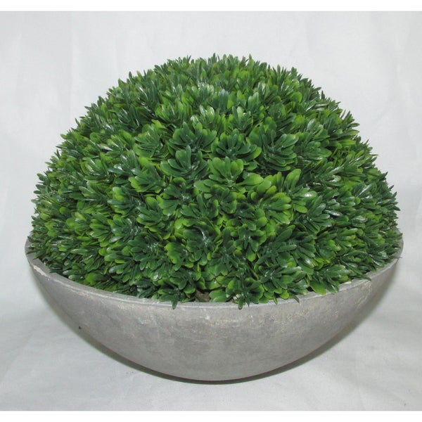 Jeco Green Stone/Polyester Artificial Topiary Half Ball Bowl Plant