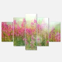 Designart 'Meadow with Little Purple Flowers' Floral Canvas Metal Wall Art