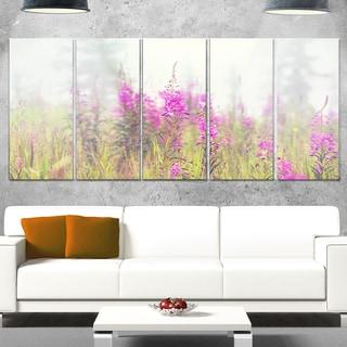 Designart 'Purple Summer Flowers in Foggy Field' Floral Canvas Metal Wall Art