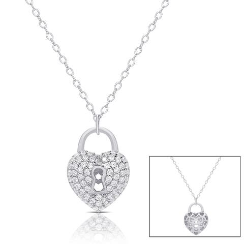 Samantha Stone Sterling Silver Cubic Zirconia Heart Lock Necklace