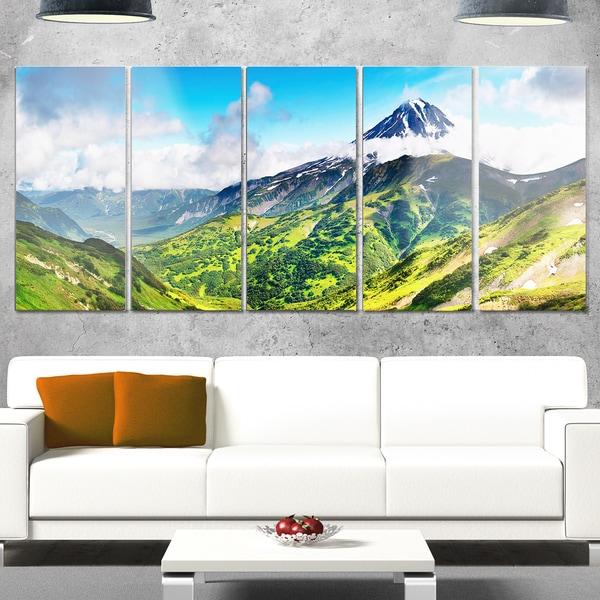 Designart 'Beautiful Green Mountains Panorama' Landscape Glossy Metal Wall Art