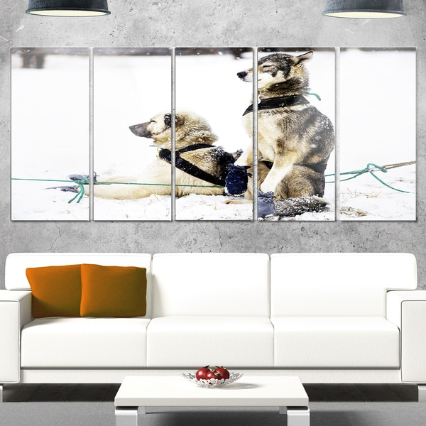 Designart 'Large Sled Dogs Relaxing' Oversized Animal Metal Wall Art