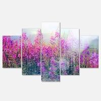 Designart 'Blooming Purple Flowers in Meadow' Large Flower Glossy Metal Wall Art
