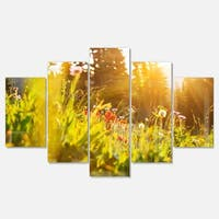 Designart 'Green Meadow with Summer Flowers' Large Flower Glossy Metal Wall Art