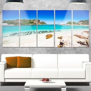 Designart 'Beautiful Knysna Beach South Africa' Large Seashore Glossy Metal Wall Art