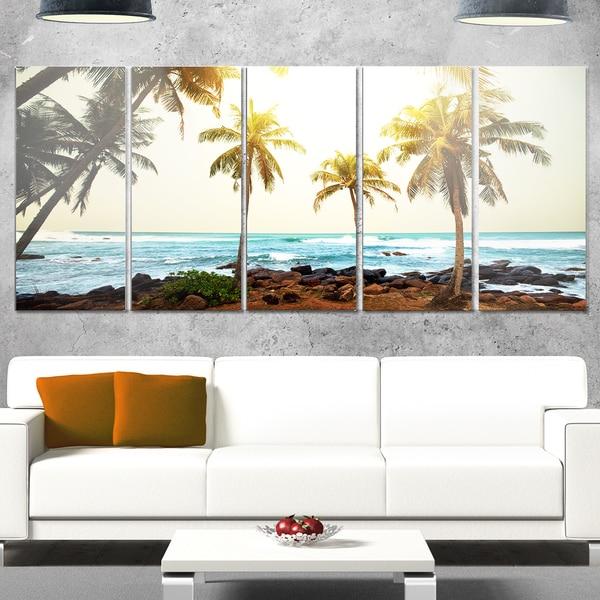 Shop Designart Rocky Tropical Beach With Palms Seashore Metal Wall