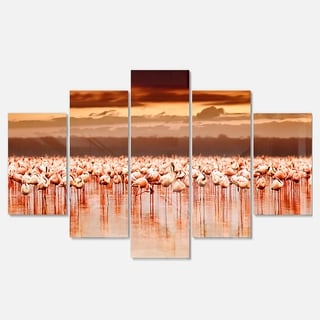 Designart 'African Flamingos View At Sunset' Large Flower Glossy Metal Wall Artwork