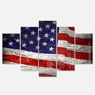 Designart 'Large American Flag Watercolor' Glossy Metal Wall Art