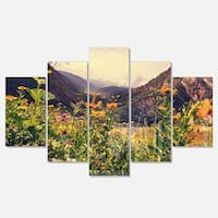 Designart 'Green Mountain Meadow with Flowers' Large Flower Glossy Metal Wall Art