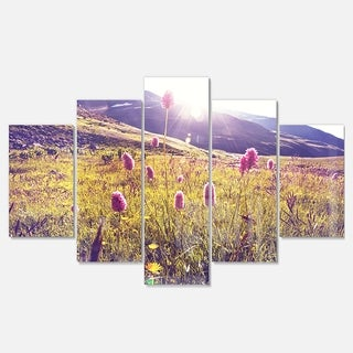 Designart 'Mountain Pasture with Pink Flowers' Large Flower Metal Wall Art