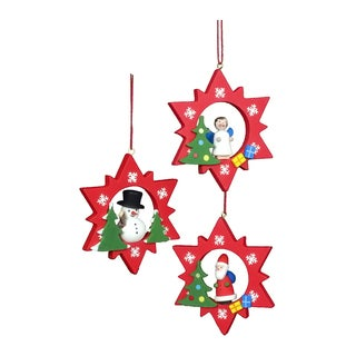 Christian Ulbricht Santa/Snowman And Angel Red Stars Ornament