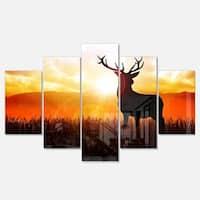 Designart 'Deer on Meadow During Sunrise' Large Animal Metal Wall Art