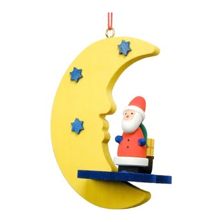 Christian Ulbricht Santa in Moon Multicolored Wooden Hanging Ornament