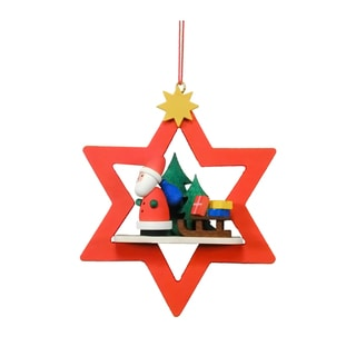 Christian Ulbricht Santa with Sled in Red Star Hanging Ornament