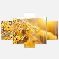 Designart 'Bright Yellow Rural Garden Flowers' Modern Flower Canvas Metal Wall Art