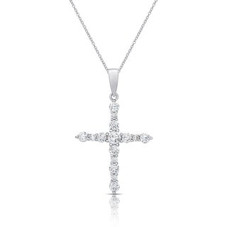 Dolce Giavonna Sterling Silver Cubic Zirconia Cross Necklace