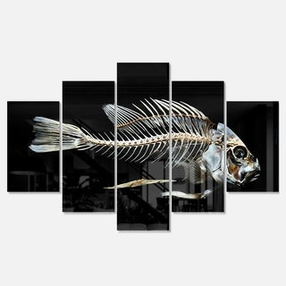 Designart 'Fish Skeleton Bone on Black' Large Animal Metal Wall Art