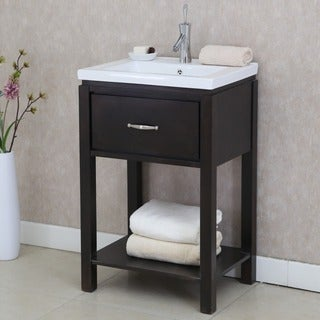 24 inch extra thick ceramic sinktop single sink bathroom vanity with open shelf in