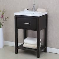 24 inch Extra thick Ceramic Sink-top Single Sink Bathroom Vanity with open shelf in Dark Brown Finish