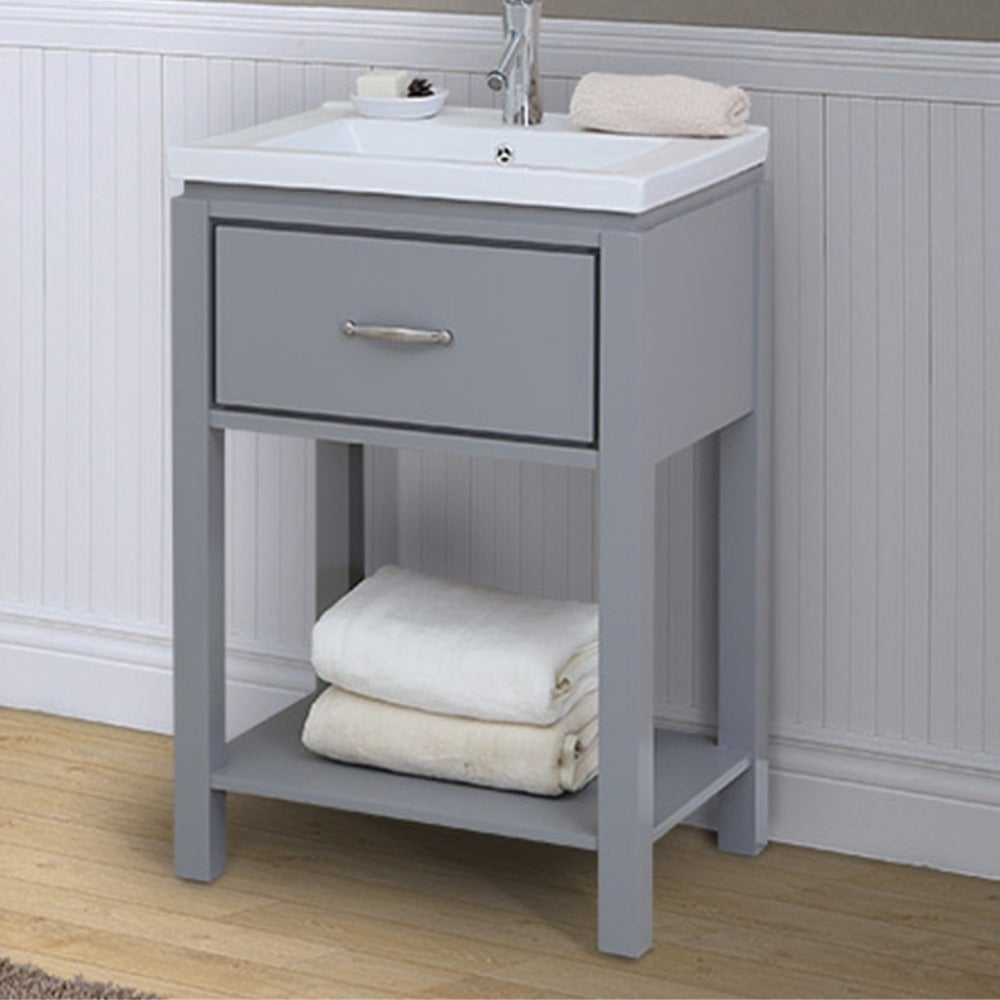 24 inch extra thick ceramic sink-top single sink bathroom vanity with open  shelf in grey finish
