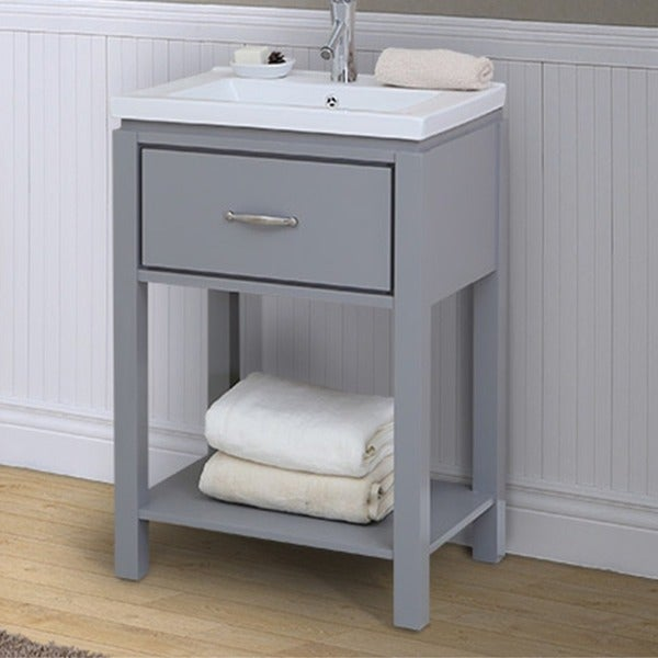 shop 24 inch extra thick ceramic sink top single sink bathroom vanity with open shelf in grey