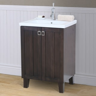 24 inch Extra thick Ceramic Sink-top Single Sink Bathroom Vanity in Brown Finish