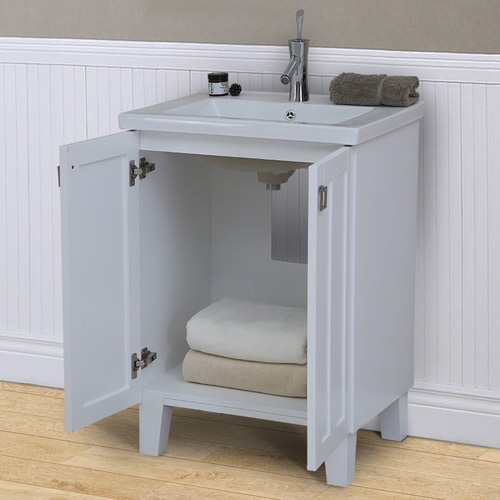 24 Inch Extra Thick Ceramic Sink Top Single Sink Bathroom Vanity In White Finish Overstock 13830034