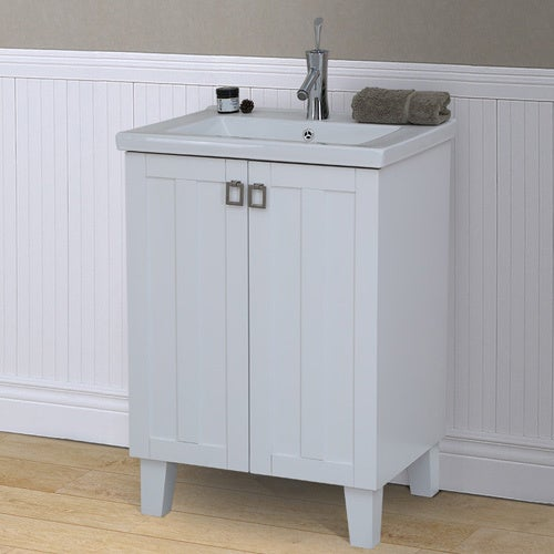 Shop 24 inch extra thick ceramic sink top single sink bathroom vanity in white finish free for 24 inch white bathroom vanity with top