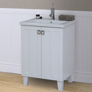 24 inch Extra thick Ceramic Sink-top Single Sink Bathroom Vanity in White Finish
