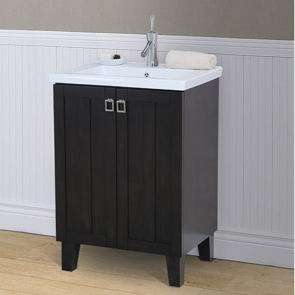 24 inch extra thick ceramic sink top single sink bathroom vanity in