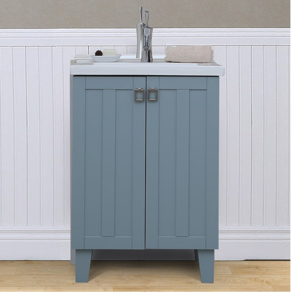 Bathroom Vanity With Sink Top. 24 inch Extra thick Ceramic Sink top Single Bathroom Vanity in Grey  Blue Finish