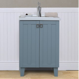 24 inch Extra thick Ceramic Sink-top Single Sink Bathroom Vanity in Grey Blue Finish