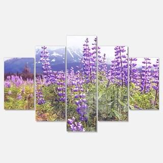 Designart 'Meadow in Alaska with Purple Flowers' Modern Flower Canvas Metal Wall Art