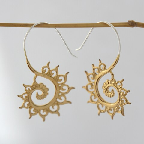 Handmade Gold-plated Fibonacci Sequence Earrings by Spirit (Indonesia)