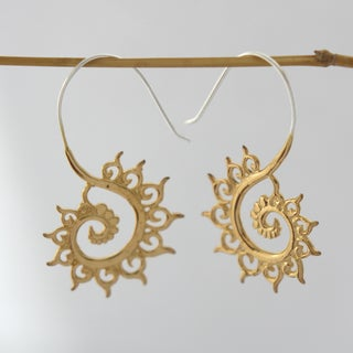 Handmade Gold Plated Fibonacci Sequence Earrings by Spirit (Indonesia)