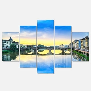Designart 'Carraia Medieval Bridge on Arno River' Beach Glossy Metal Wall Art