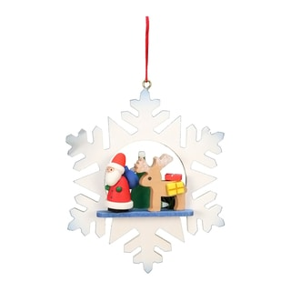 Christian Ulbricht Santa with Reindeer in Snowflake Multicolored Wooden Ornament