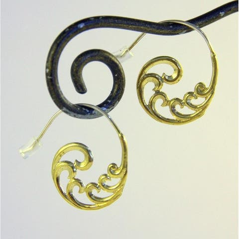 Handmade Gold Plated Sacred Spiral Earrings by Spirit (Indonesia)
