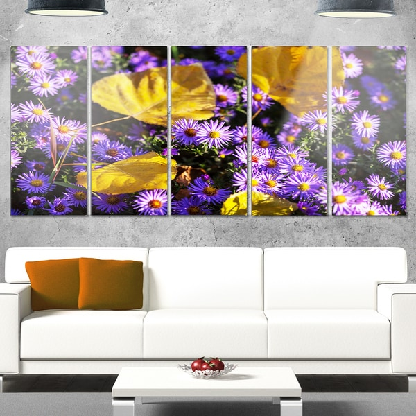 Shop Designart Little Purple Flowers And Yellow Leaves