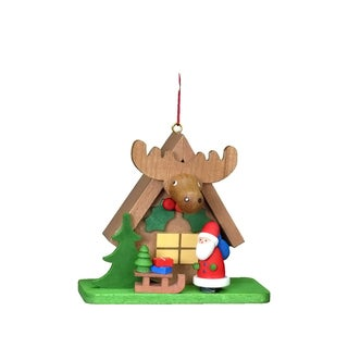 Christian Ulbricht Multicolored Wood Santa with 'Elk' House Ornament