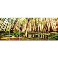 Designart 'Dense Trees in Green Rain Forest' Oversized Landscape Glossy Metal Wall Art
