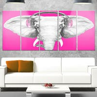 Designart 'Elephant with Headphones' Contemporary Animal Glossy Metal Wall Art